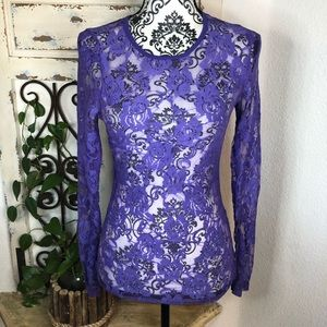Color story purple lace sheer shirt